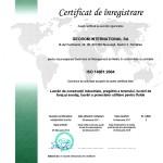 certificat sistem management mediu ISO 14001